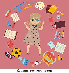 Disabled schoolgirl with eye patch and school supplies