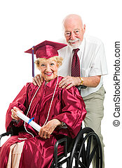 Disabled Senior Graduate and Husband