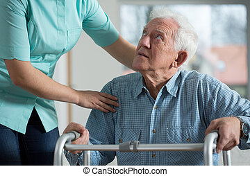 Disabled senior in care home