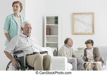 Disabled senior man
