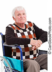 disabled, senior mand, på, hjul stol