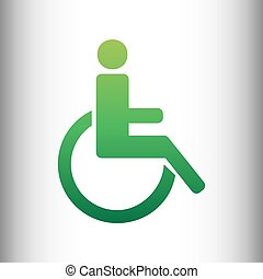 Disabled sign. Green gradient icon
