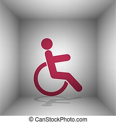 Disabled sign illustration. Bordo icon with shadow in the room.