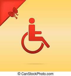 Disabled sign illustration. Cristmas design red icon on gold background.