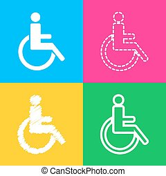 Disabled sign illustration. Four styles of icon on four color squares.