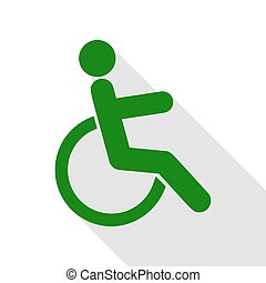 Disabled sign illustration. Green icon with flat style shadow path.