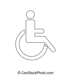 Disabled sign illustration. Vector. Black dotted icon on white background. Isolated.