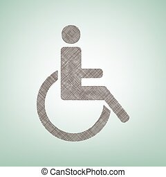 Disabled sign illustration. Vector. Brown flax icon on green background with light spot at the center.