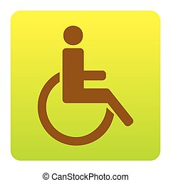 Disabled sign illustration. Vector. Brown icon at green-yellow gradient square with rounded corners on white background. Isolated.
