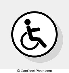 Disabled sign illustration. Vector. Flat black icon in white circle with shadow at gray background.