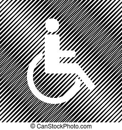 Disabled sign illustration. Vector. Icon. Hole in moire backgrou