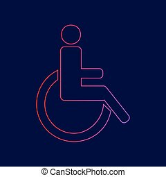 Disabled sign illustration. Vector. Line icon with gradient from red to violet colors on dark blue background.