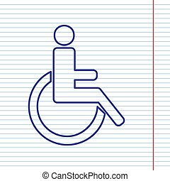 Disabled sign illustration. Vector. Navy line icon on notebook paper as background with red line for field.