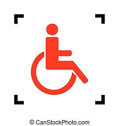Disabled sign illustration. Vector. Red icon inside black focus corners on white background. Isolated.