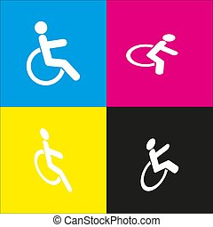 Disabled sign illustration. Vector. White icon with isometric projections on cyan, magenta, yellow and black backgrounds.