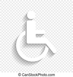 Disabled sign illustration. Vector. White icon with soft shadow on transparent background.