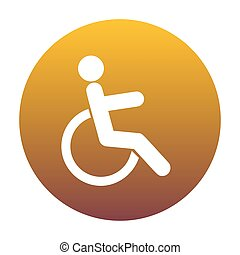 Disabled sign illustration. White icon in circle with golden gra