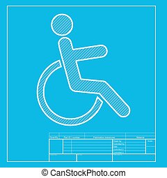 Disabled sign illustration. White section of icon on blueprint template.
