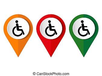 Disabled sign on white background. Vector illustration