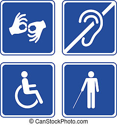Disabled signs: deaf, blind, mute and wheelchair vector...