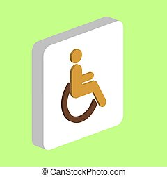 Disabled Simple vector icon. Illustration symbol design template for web mobile UI element. Perfect color isometric pictogram on 3d white square. Disabled icons for business project.