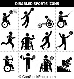 Disabled Sports Icons - Disabled sports black pictogram...