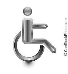disabled Stickman in wheelchair metal icon vector...