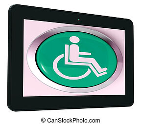 Disabled Tablet Shows Wheelchair Access Or Handicapped