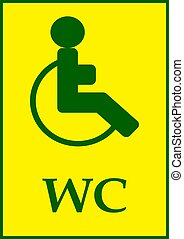 Disabled toilet sign template and text wc.