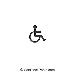 Disabled toilet toilet icon flat vector icon closeup isolated
