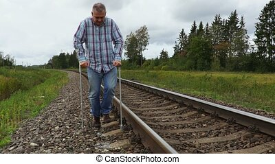 Disabled trying to get over the railroad tracks