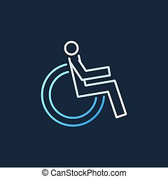 Disabled vector colored modern linear icon. Wheelchair sign