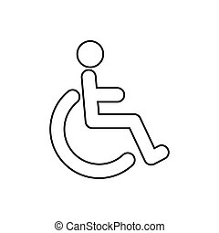 Disabled vector icon isolated on white background