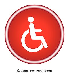 Disabled wheelchair icon - sign isolated on white, vector