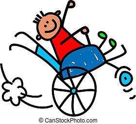 Whimsical cartoon illustration of a happy little disabled boy doing a wheely in his wheelchair.