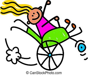 Whimsical cartoon illustration of a happy little disabled girl doing a wheely in her wheelchair.