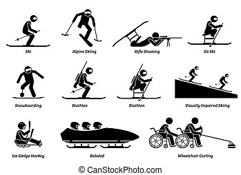 Disabled winter sports and games for handicapped athlete stick figures icons.