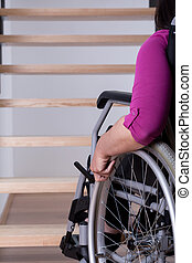 Disabled woman can't get upstairs