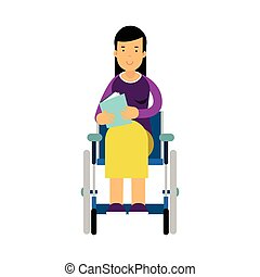 Disabled woman in wheelchair reading a book colorful vector Illustration