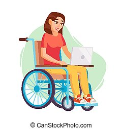 Disabled Cat Character In Wheelchair Vector Flat Cartoon