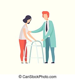 Disabled woman walking, using a walker, medical rehabilitation, physical therapy activity vector Illustration isolated on a white background.