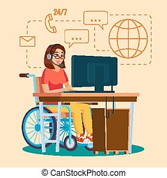 Disabled Woman Working Vector. Socialization Concept....