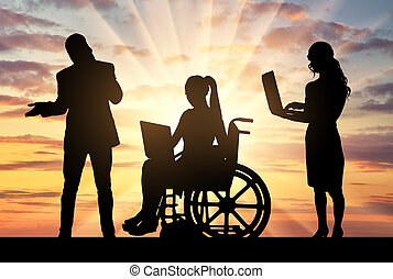 Disabled worker and work team. Disabled working concept