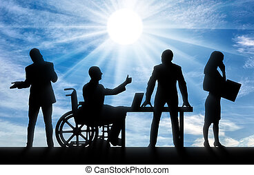 Disabled worker. Silhouette disabled manand his work team.