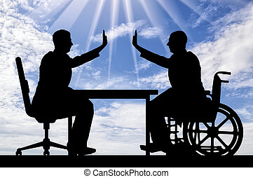 Disabled worker. Silhouette employer and disabled man in a wheelchair