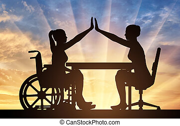 Disabled worker. Silhouette employer and disabled woman in a wheelchair