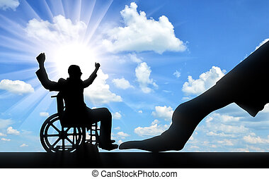 Disabled worker. Silhouette of a big hand and disabled man