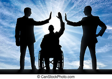 Disabled worker. Silhouette of a disabled man and her two colleagues