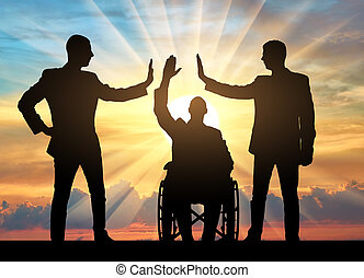 Disabled worker. Silhouette of a disabled man and two workers