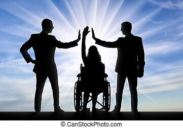 Disabled worker. Silhouette of a disabled woman and her two colleagues